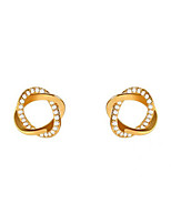 cheap -Women's Cubic Zirconia Stud Earrings Twisted Precious Trendy Cute Earrings Jewelry Gold For Party Daily Street Festival 1 Pair