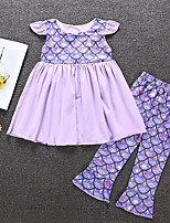 cheap -Kids Toddler Girls' Active Basic Vacation Festival Print Print Sleeveless Regular Long Clothing Set Purple