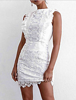 cheap -Women's A-Line Dress Short Mini Dress - Sleeveless Solid Color Summer Casual Chinoiserie 2020 White S M L