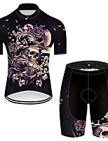cheap -21Grams Men's Short Sleeve Cycling Jersey with Shorts Nylon Polyester Black / Yellow Novelty Skull Floral Botanical Bike Clothing Suit Breathable 3D Pad Quick Dry Ultraviolet Resistant Reflective