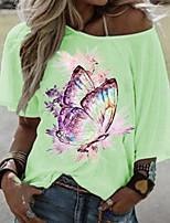 cheap -Women's T-shirt Animal Round Neck Tops White Blue Purple