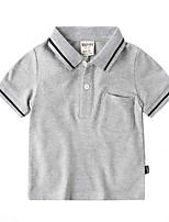Недорогие -Дети Мальчики Уличный стиль Однотонный С короткими рукавами Блуза Белый