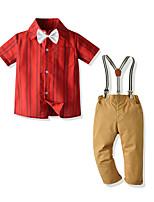 cheap -Toddler Boys' Basic Street chic Anniversary Festival Striped Short Sleeve Regular Regular Clothing Set Wine