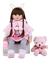cheap -FeelWind 24 inch Reborn Doll Baby & Toddler Toy Reborn Toddler Doll Baby Girl Gift Cute Lovely Parent-Child Interaction Tipped and Sealed Nails 3/4 Silicone Limbs and Cotton Filled Body LV0106 with