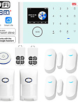 cheap -Home Alarm Systems / Alarm Host / Door & Window Sensor GSM + WIFI iOS / Android Platform GSM + WIFI Wireless Keyboard / SMS / Phone 433 Hz for Park / Kitchen