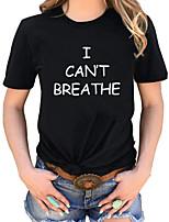 cheap -Women's T-shirt Letter Round Neck Tops Black