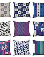 cheap -9 pcs Linen Pillow Cover, English Alphabet Geometric Casual Modern Square Traditional Classic