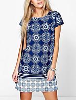 cheap -Women's Shift Dress Knee Length Dress - Short Sleeves Floral Summer Casual 2020 Black Blue S M L XL XXL