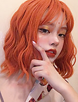 cheap -Synthetic Wig Curly With Bangs Wig Short Orange Synthetic Hair 12 inch Women's Simple Life Women Red