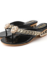cheap -Women's Slippers & Flip-Flops Summer Fantasy Heel Open Toe Casual Daily Outdoor PU Black / Gold / Silver