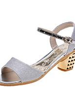 cheap -Women's Sandals Summer Pumps Open Toe Daily PU Black / Gold / Silver