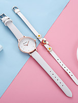cheap -Women's Quartz Watches New Arrival Fashion Black Blue Pink PU Leather Quartz White Blushing Pink Sky Blue Chronograph Cute Creative 1 set Analog