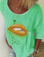 cheap -Women's T-shirt Graphic Round Neck Tops Summer White Blue Purple