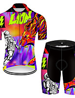 cheap -21Grams Men's Short Sleeve Cycling Jersey with Shorts Nylon Polyester Black / Red Dragon Funny Astronaut Bike Clothing Suit Breathable 3D Pad Quick Dry Ultraviolet Resistant Reflective Strips Sports