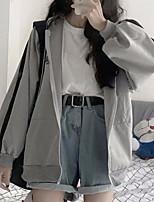 cheap -Women's Hoodie Color Block Basic Gray M L XL XXL