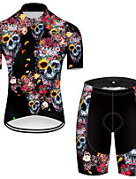 cheap -21Grams Men's Short Sleeve Cycling Jersey with Shorts Nylon Polyester Black / Red Novelty Skull Floral Botanical Bike Clothing Suit Breathable 3D Pad Quick Dry Ultraviolet Resistant Reflective Strips