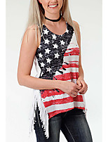 cheap -Women's Blouse National Flag Tops Round Neck Daily Summer White M L XL 2XL