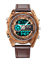 cheap -Men's Sport Watch Digital Modern Style Stylish Genuine Leather Wooden Day Date Digital Fashion Cool - Black Red Brown