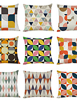 cheap -9 pcs Linen Pillow Cover, Colorful Geometric Casual Modern Square Traditional Classic