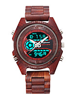 cheap -Men's Digital Watch Japanese Quartz Wood Black / Red / Brown Water Resistant / Waterproof Calendar / date / day Day Date Analog - Digital Fashion Cool - Black Red Brown