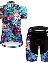 cheap -21Grams Women's Short Sleeve Cycling Jersey with Shorts Nylon Polyester Blue Skull Floral Botanical Funny Bike Clothing Suit Breathable 3D Pad Quick Dry Ultraviolet Resistant Reflective Strips Sports