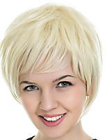 cheap -Synthetic Wig kinky Straight With Bangs Wig Short Light Blonde Synthetic Hair 12 inch Women's Simple Fashionable Design Classic Blonde