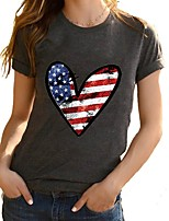 cheap -Women's T-shirt National Flag Round Neck Tops Summer Gray