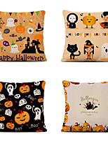 cheap -Set of 4 Throw Pillow Simple Classic 45*45 cm Polyester Pillow Cover Special Design Halloween Square Traditional Classic