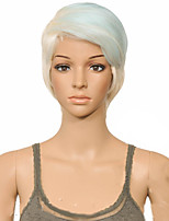 cheap -Synthetic Wig Straight Layered Haircut Wig Short Blue Synthetic Hair 10 inch Women's Women Synthetic Sexy Lady Mixed Color hairjoy