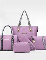 cheap -Women's Zipper PU Bag Set Bag Sets Solid Color Black / Purple / Beige