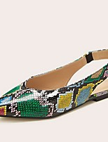 cheap -Women's Sandals Summer Flat Heel Pointed Toe Daily PU Green / Animal Print