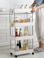 cheap -Bathroom Storage Rack 4 Layers Kitchen Narrow Cabinet Living Room Gap Shelf Home Furniture Movable Wheels Shelf