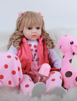 cheap -FeelWind 24 inch Reborn Doll Baby & Toddler Toy Reborn Toddler Doll Baby Girl Gift Cute Lovely Parent-Child Interaction Tipped and Sealed Nails 3/4 Silicone Limbs and Cotton Filled Body LV0109 with