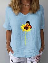 cheap -Women's T-shirt Floral Tops V Neck Daily Summer White Yellow Navy Blue S M L XL 2XL 3XL