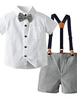 cheap -Kids Toddler Boys' Basic Color Block Short Sleeve Clothing Set White