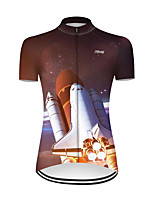 cheap -21Grams Women's Short Sleeve Cycling Jersey Nylon Polyester Red / White 3D Gradient Rocket Bike Jersey Top Mountain Bike MTB Road Bike Cycling Breathable Quick Dry Ultraviolet Resistant Sports
