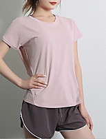 cheap -Women's T-shirt Solid Colored Round Neck Tops Black Blushing Pink Green