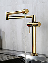 cheap -Golden Folding Kitchen Faucet Household Rotating High Sink Sink Faucet