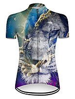 cheap -21Grams Women's Short Sleeve Cycling Jersey Nylon Polyester Black / Blue Gradient Animal Lion Bike Jersey Top Mountain Bike MTB Road Bike Cycling Breathable Quick Dry Ultraviolet Resistant Sports