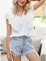 cheap -Women's Blouse Solid Colored Tops - Ruffle V Neck Basic Weekend Summer White S M L XL