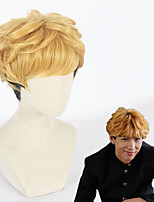 cheap -Cosplay Wig Takashi Mitsuhashi Kyou Kara Ore Wa Curly Cosplay Halloween With Bangs Wig Short Blonde Synthetic Hair 12 inch Men's Anime Cosplay Cool Mixed Color