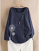 cheap -Women's Blouse Floral Tops - Print Round Neck Loose Cotton Basic Daily Spring Fall White Red Green M L XL 2XL 3XL 4XL 5XL