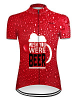 cheap -21Grams Women's Short Sleeve Cycling Jersey Red Oktoberfest Beer Bike Top Mountain Bike MTB Road Bike Cycling Breathable Sports Clothing Apparel / Micro-elastic