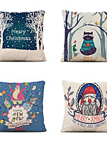 cheap -Set of 4 Christmas Pillow Covers Cotton Linen Santa Tree Reindeer Holiday Christmas Decoration