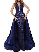 cheap -Mermaid / Trumpet Beautiful Back Sexy Engagement Formal Evening Dress V Neck Sleeveless Floor Length Satin with Sash / Ribbon Embroidery 2020
