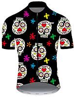 Недорогие -21Grams Муж. С короткими рукавами Велокофты Нейлон Полиэстер Черный / Белый Черепа Цветочные ботанический Смешной Велоспорт Джерси Верхняя часть Горные велосипеды Шоссейные велосипеды / Дышащий