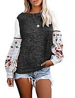 Недорогие -Жен. Блуза Графика Верхушки Круглый вырез Повседневные Белый Черный S M L XL 2XL