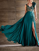 cheap -A-Line Beautiful Back Floral Engagement Formal Evening Dress V Neck Sleeveless Floor Length Chiffon Lace with Pleats Split Appliques 2020