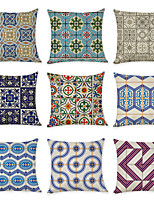 cheap -9 pcs Linen Pillow Cover, Vintage Geometric Geometic Casual Modern Square Traditional Classic