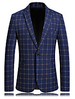 cheap -Tuxedos Standard Fit Notch Single Breasted One-button Polyester Plaid Checkered / Plaid / Check / Gingham